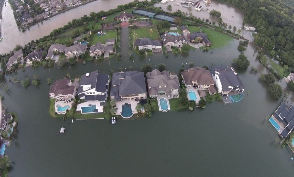 Drone photo of upstream properties flooded by reservoir waters in the aftermath of Harvey.